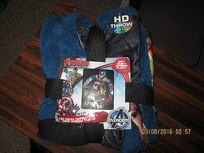 Avengers Age Of Ultron Mink Sherpa Throw. 46 X 60. HD HIGH DEFINITION NEW