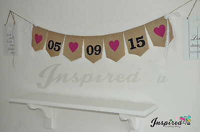 Personalised Hessian Save The Date Wedding Vintage Bunting   Rustic Photo Prop
