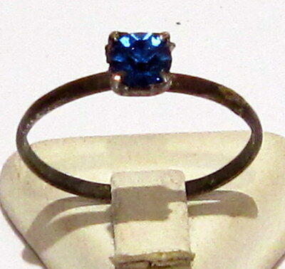 VINTAGE NICE BRONZE RING WITH BLUE STONE FROM THE EARLY 20th CENTURY # 16B