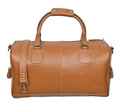 Duffel Bag Tan Glazed Leather Weekend Duffle Travel Holdall Gym Overnight