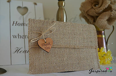 10 Wedding Invitation Thank u Hessian Vintage Rustic Burlap Envelope Wood Heart