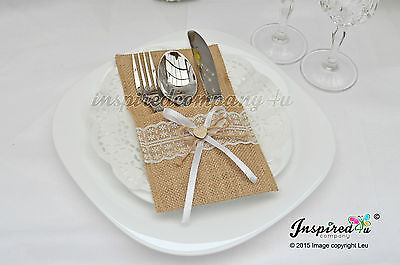 25 x Wedding Cutlery Holders Burlap Hessian Table Decor Lace Wooden Heart #12