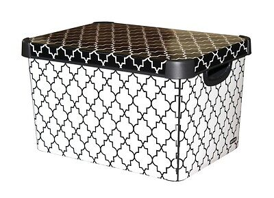 Curver Stockholm Large Design Deco Storage Box with Lid 22L - Morrocan