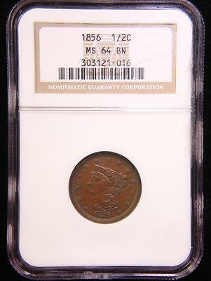 1856 Braided Hair Half Cent Near Gem Unc Ngc Ms 64 Bn Us Coin (75)