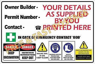 Owner Builder Corflute Sign Safety Building Site 600Mm X 900Mm - 3Mm Free Post