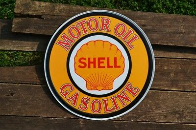 Shell Motor Oil & Gasoline Tin Metal Sign -  Shell Oil Company - Gas - Retro