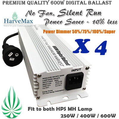 4x Hydroponics 600W HPS/MH Dimmable Digital Ballast Build in Timer As Solis Tek