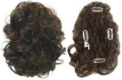 Short Wavy Curly Large Pull-Through Hair Topper Wiglet Bangs Hairpiece Enhancer