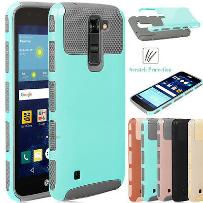For LG Escape 3 / K8 / Phoenix 2 Hybrid Dual Layer Rugged Armor Hard Case Cover