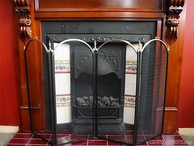 WOOD HEATER FIRE PLACE SCREEN 4 Panels PEWTER Brand New