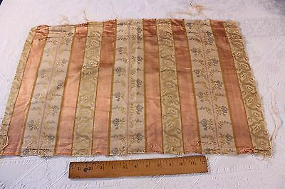 Antique French Shabby Muted Silk Liser Brocade Home Decor Fabric C1910