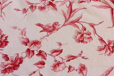 """French Antique 19thC Red Bird & Insect Home Dec Toile Fabric c1890~L-32""""X W-32"""""""