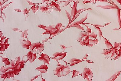 Lovely 19thC French Antique Bird & Insect Home Dec Toile Fabric c1890