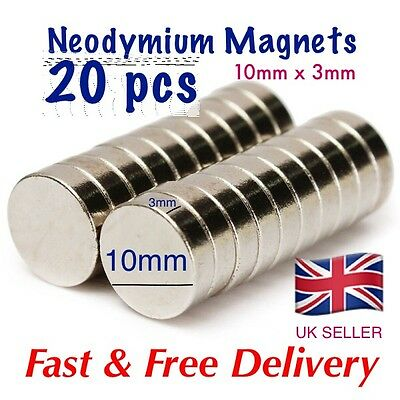 20 pcs - Strong Neo Magnets (10mm  x 3mm) * Pull force 1.75Kg * Powerful