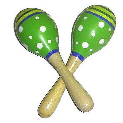Wooden Music Note Maracas Green Painted 10 cm Plastic Head Ages 2+ years