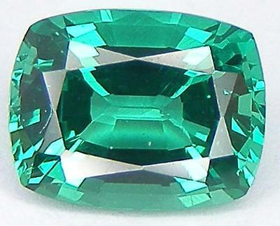 EXCELLENT CUT RECTANGULAR CUSHION 9x7 MM. LAB CREATED NANOCRYSTAL EMERALD
