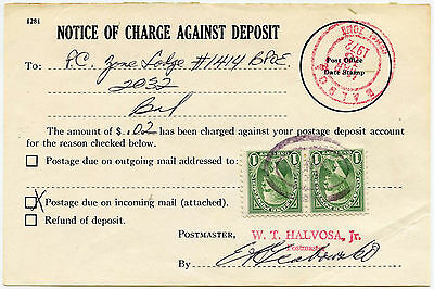 CANAL ZONE POSTAGE DUE 1972 CHARGE FORM 2c