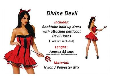 Ladies Red black Devil Costume Fancy Dress Halloween Naughty outfit womens new