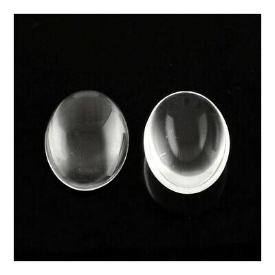 Packet of 10 x Clear Glass 18 x 25mm Oval-Shaped Flat-Backed Cabochon Y02595