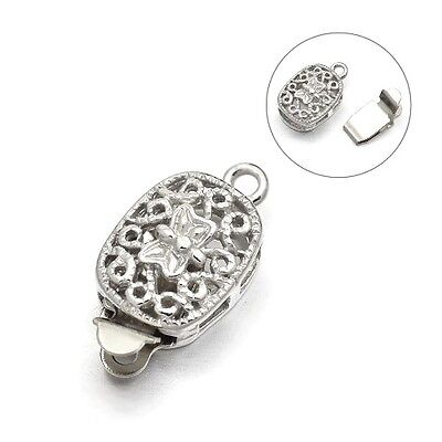 Packet of 2 x Platinum Metal Alloy 8 x 17mm Oval Box Clasp Set Y03265