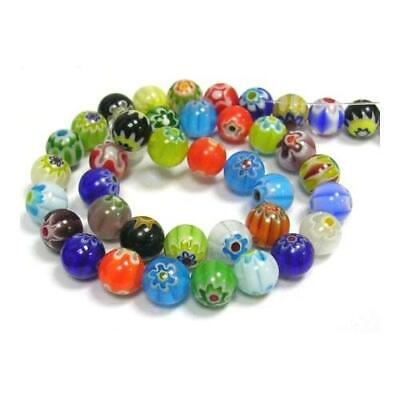 Packet 30 x Mixed Millefiori Glass 6mm Plain Round Beads Y03515