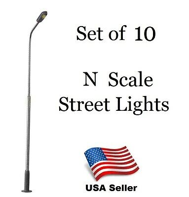 Lot of 10 N Scale LED Model Street Light  - Train Layouts USA free shipping #BB