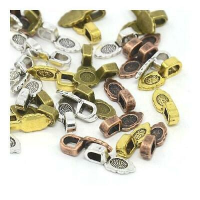 Packet of 10 x Mixed Tibetan 6 x 16mm Glue on Bails For Pendants Y03720