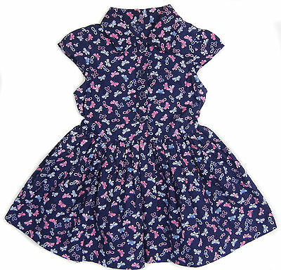 Little Girls Dress Butterfly Print Pattern Shirt-waister Style 9-12M To 5-6Y