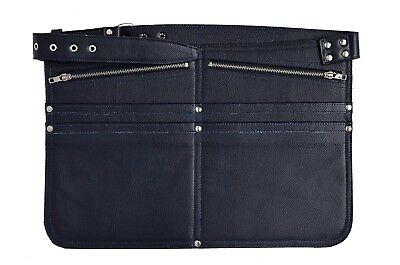 Blue Cash Bag Money Belt Real Leather Market Traders Shoulder Strap Zip Bum