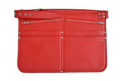 Cash Bag Red Real Leather Money Holster Market Trader Shoulder Strap Travel