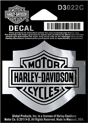 "Harley-Davidson Aufkleber/Decal ""BAR + SHIELD SILBER "" klein *D3022C* 2er-Set"
