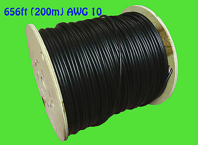 200m 656ft Solar PV cable wire gauge AWG 10 cable BLACK câble solaire