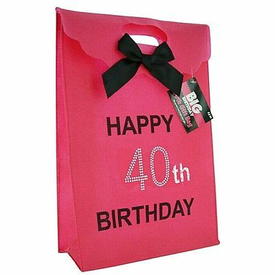 Happy 40th Birthday Glitzy Gift Present Bag in HOT PINK & Black Diamante Stones