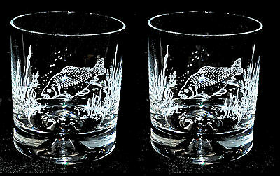 Boxed Pair of Glass Whisky Tumblers with CARP design *ANGLING FISHING GIFT*