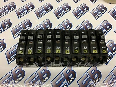 *LOT OF 10* Square D QOB120, 20 AMP 1 POLE Circuit Breaker, Yellow- WARRANTY
