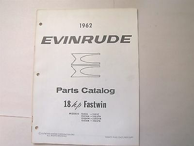 Used 1962 Evinrude 15036 15037 Fastwin 18Hp Parts Catalog/list
