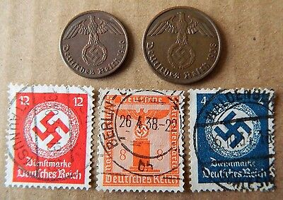 Lot of Germany 3rd Reich 1&2 Reichspfennig coins and 3 stamps with Swastika -C8