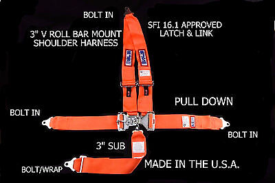 Rjs Racing Sfi 16.1 Latch & Link 5 Point Seat Belt V Harness Bolt Orange 1126205