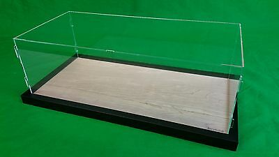"52""L x 12""W x 16""H display case with 3/16"" thick acrylic and black wood frame"