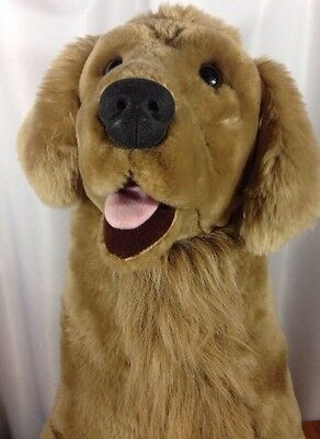 "Large Stuffed Animal Golden Retriever Dog 32"" High Melissa & Doug Jumbo Lifelike"