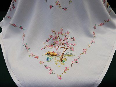 Vintage Linen Tablecloth-Hand Embroidered Cottage Garden-Apple Blossoms