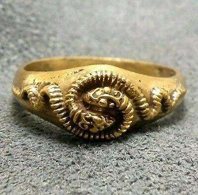 Snakes Men Brass Ring Thai Real Amulet Love Attraction Charm Thailand Nice Gift