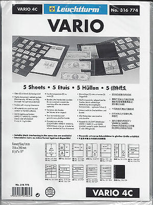 New Vario Stock Sheets 4C One-Sided  Four Horizontal Pockets Clear Pkg. 5