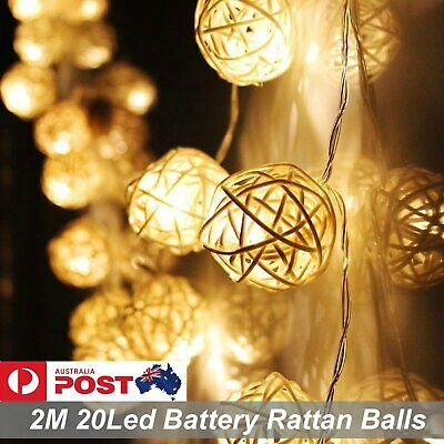 1X 2M 20LED Battery Operated Rattan Balls String Fairy Lights Warm White Party