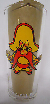 VINTAGE! 1973 Pepsi Collector Series Thick Glass-Yosemite Sam-White Letters