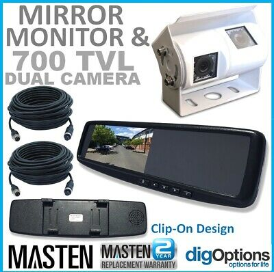 -.3LCD Rear View Mirror Monitor  2 Inputs Universal Clip OnStyle Camera Caravan