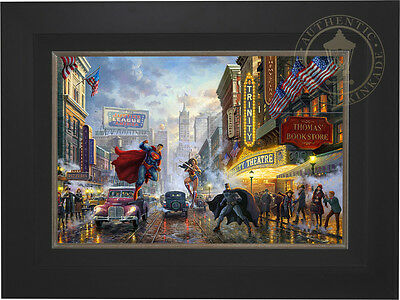 Thomas Kinkade DC BATMAN, SUPERMAN AND WONDER WOMAN 18 x 27 LE G/P Canvas Framed
