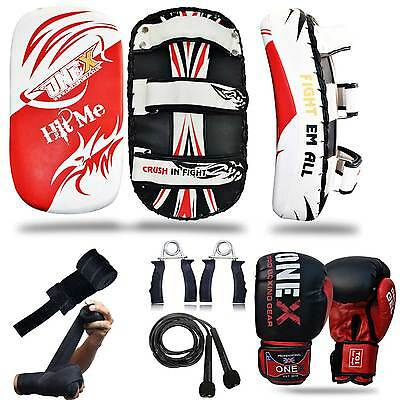 Muay Thai Curved Kick Pad, Boxing Gloves, MMA Fight Training Set, Hand Wraps