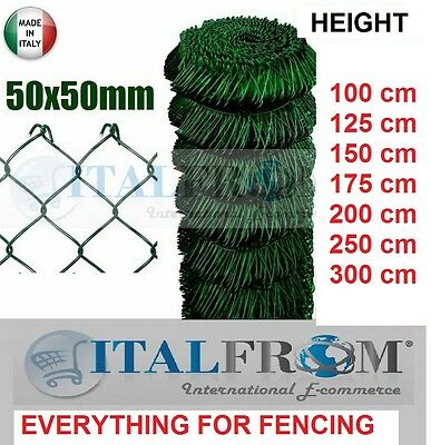 25mt GREEN PVC GALVANIZED CHAIN LINK ROLL - MESH 5x5cm -WIRE MESH FENCING