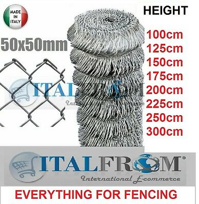 25mt GALVANIZED CHAIN LINK ROLL - MESH 5x5cm -WIRE MESH FENCING